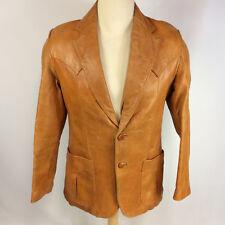 Vintage Hollywood Pimp Mod Retro Atomic Light Brown Leather Sports Coat Jacket