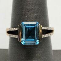 Sterling Silver 925 Oxidized Vermeil Swiss Blue Topaz Diamond Pave Cocktail Ring