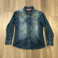 Cowgirl Up Womens Large Embroidered Snap Button Denim Jean Shirt Cotton