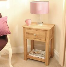 Mobel solid oak furniture lamp table with drawer and felt pads