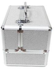 Large White Aluminium Beauty Sequins Cosmetic Box Nail Make Up Vanity Salon Case