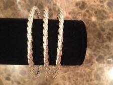 Trio of Three Silver-Colored Bangle Bracelets with Rope Design -- J-14