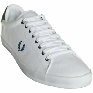 FRED PERRY Tennis Shoes white Plimsolls Twill B7467 Howells Size: UK 6 EU 39