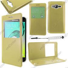 Housse Coque Etui Fenêtre View PU Cuir Doré Samsung Galaxy J3 2016 Mini Stylet