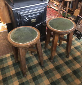 Pair of Antique Bar Stools by Gaskell & Chambers : Leather Seats & Brass Studs