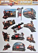 A4 DIE CUT 3D PAPER TOLE DECOUPAGE Push Out Sheet Vintage Trains