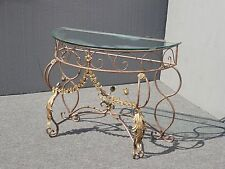 Wrought Iron Gold Gilt Scroll & Flourishes Console Side Table with Glass Top