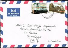 3028 UGANDA TO CHILE AIR MAIL COVER 2000 LOCOMOTIVE RAILROADS KAMPALA - SANTIAGO