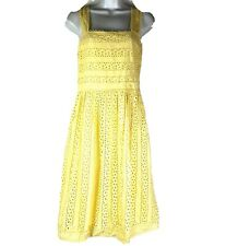 Max Studio Yellow Eyelet Lined Smocked Back A-Line Dress Women's Size M