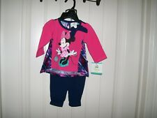 DISNEY BABY GIRLS  2-PIECE MINNIE MOUSE TOP & LEGGING SET SIZE 0-3 MONTHS