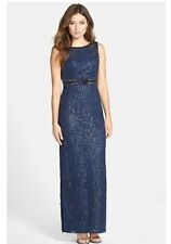 SUE WONG W5162 Navy Sequin Lace Draped Back Column Gown Size 6 $468 NWT