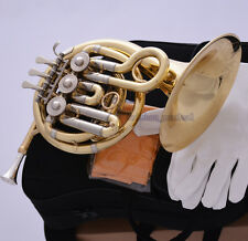 TOP Gold Bb Mini French Horn Cupronickel Tuning Pipe Piccolo Horn Engraving Bell
