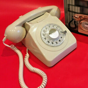 GPO 746 Retro 1970s Style Rotary Dial Telephone in Ivory - Modern Repro BT Phone