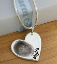 FINGERPRINT JEWELLERY- Personalised silver necklace fingerprint charm WITH CHAIN