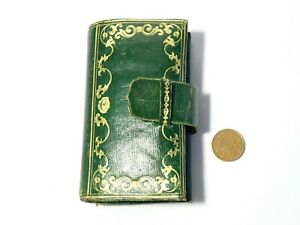 19thC Green Leather Wallet Locks of Hair Mourning Piece Rambaut Family