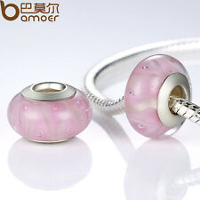 Luxury Desire Pink Glasses Beads Fit European Charms Bracelets Christmas Jewelry