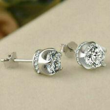 Women 925 Sterling Silver Stud 7mm Queen Diamonique CZ Crown Earrings W/Gift Box