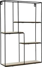 Black Metal Wall Mounted Multi Shelf Storage Organiser Unit Display Rack -