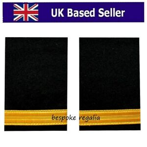 Pilot Captain,Gold Strips Epaulettes,Pilot Airline,Merchant Marine 1 Bar (Pair)