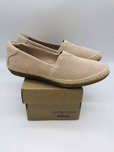 Clarks Collection Women Danelly Sky Espadrille Slip-Ons Blush Suede, choose size
