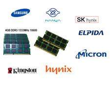 1X 4GB DDR3 Laptop RAM PC3 10600 1333MHz SODIMM Samsung, Hynix Elpida , Micron