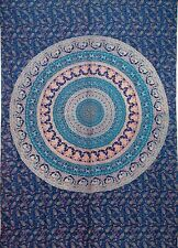 Hippie Mandala Bohemian Psychedelic Peacock Design Bedsheet.