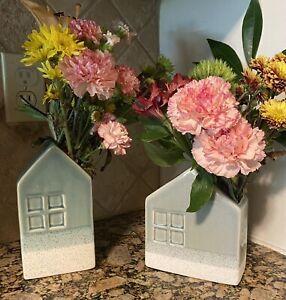 NEW Set of 2 Scott Twin Living Ceramic House Vase Modern Grey Green Tall N Short