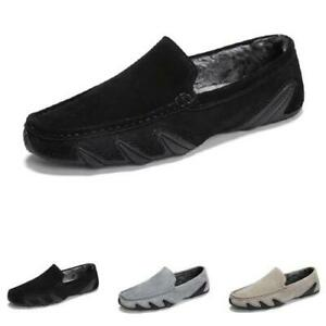 Mens Faux Leather Driving Moccasins Shoes Fur Inside Warm Loafers Slip on Soft L