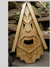 Unique Tiki Bird House Rustic Hand Carved Tiki Face Wood Spirit 16""