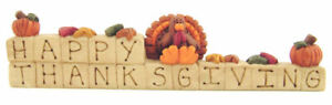 Happy Thanksgiving Blossom Bucket  Fall Resin Block Turkey Pumpkins Leaves 8 x 2