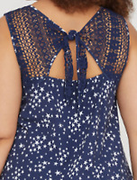LANE BRYANT Cami TOP STARS WOVEN CROCHET BACK TANK PLUS 16 18 20 22 26 1X 2X 3X