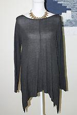 BELLDINI Womens Size Medium Gray Handkerchief Asymmetrical Hem Knit Top Sweater