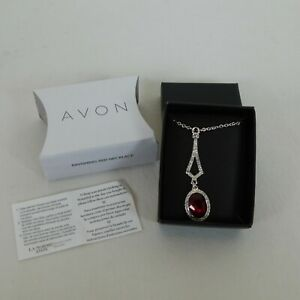 Avon Ravishing Red Pendant Necklace Rhinestones Silver Tone 2018 Original Box