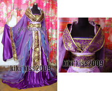 China Kimono Lilac Fairy Girl's Purple/Green Dress Cosplay Custom-Made HanFu