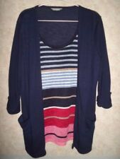 MARKS AND SPENCER NAVY JERSEY CARDIGAN WITH STRIPPED ATTACHED UNDERLAY SIZE 14