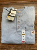 Men's Carhartt Force Cotton Flame-Resistant Long Sleeve Shirt Medium Blue FR