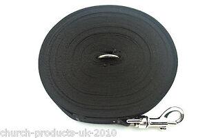 50ft 15m Long Dog Training Lead Obedience Recall Leash Large 25mm Webbing Black