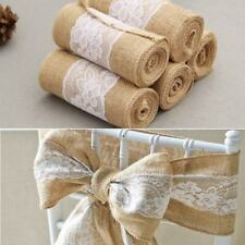 Burlap Chair Sashes Hessian Fabric Jute Table Runners Natural Chic Bow Wedding