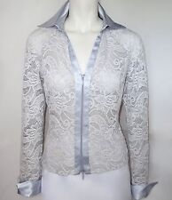 'NEW' LILLIE RUBIN SIZE 6 S SMALL LACE BLOUSE TOP BABY BLUE DRESSY EVENING NWT