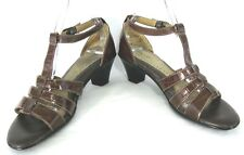 Softspots Sandals Shoes Sz 8 M Brown Croc Print Gladiator Heels Ankle T - Strap