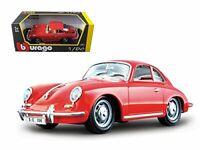 1961 Porsche 356 B Coupe Red 1/24 Diecast Model Car by Bburago