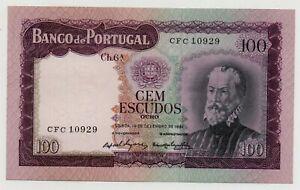 PORTUGAL 100 ESCUDOS 1961 PICK 165 UNC-