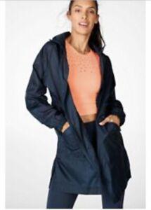 BNWT Fabletics Navy Blue Woven Showerproof Jacket / Coat Small RRP £89.00