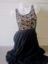 LC Lauren Conrad Black Scoop Neck Crochet Top Full Length Maxi Dress Formal 4