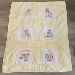 Vintage Patchwork Crib Quilt, Children's Embroidery Characters, Cross Stitch
