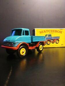 Vintage Lesney Matchbox Unimog Truck Blue #49 in Original E Type Box VNM