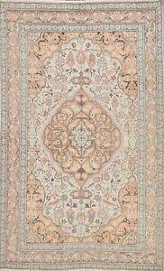 Muted Semi Antique Floral Kirman Area Rug Distressed Handmade Wool Carpet 5x7 ft