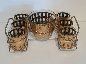Piza by Culver Ice Bucket Rocks Tumblers Carrier Tongs Gold Green Vintage