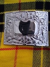 Scottish Thistle Flower Kilt Belt Buckle In Two Tone Chrome & Matt Black Finish