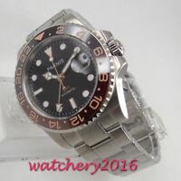 40mm PARNIS Schwarz dial Sapphire Glass GMT Automatic Mechanisch Uhr men's Watch